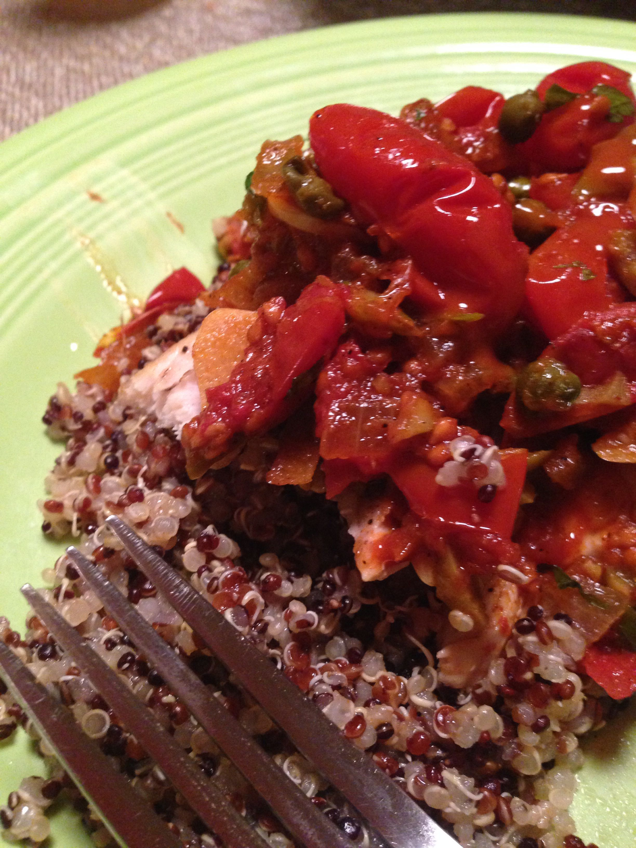 Magi Mahi Livornese Over Black Quinoa Healthy And Full Of Flavor Quinoa Healthy Dinner Tonight Dinner