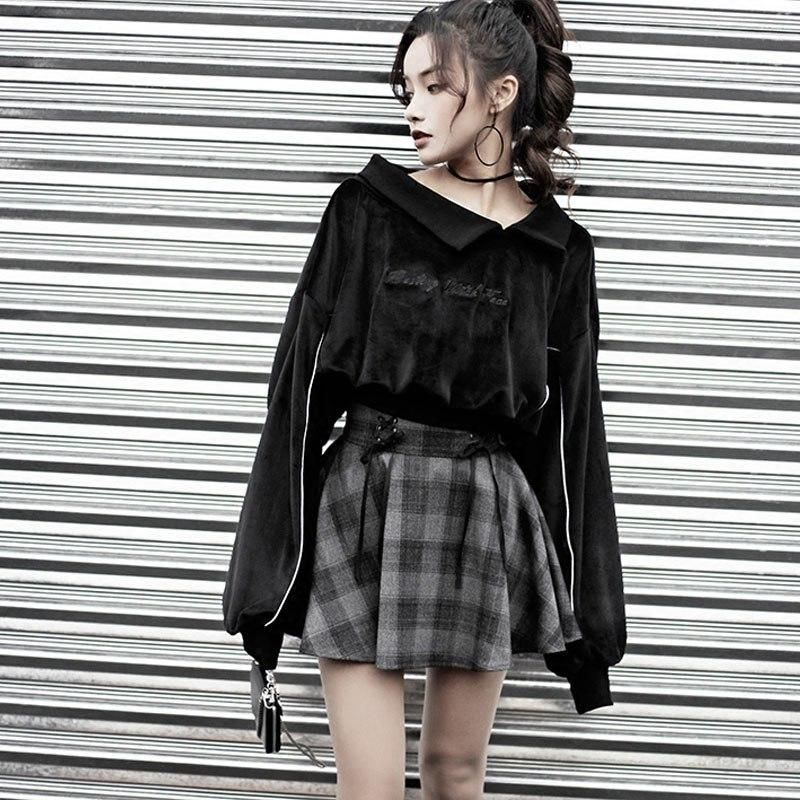 9136e11d2bdee RESTING WITCH FACE Gothic Embroidery Velvet Sweatshirt – ROCK 'N DOLL Plaid  Mini Skirt,