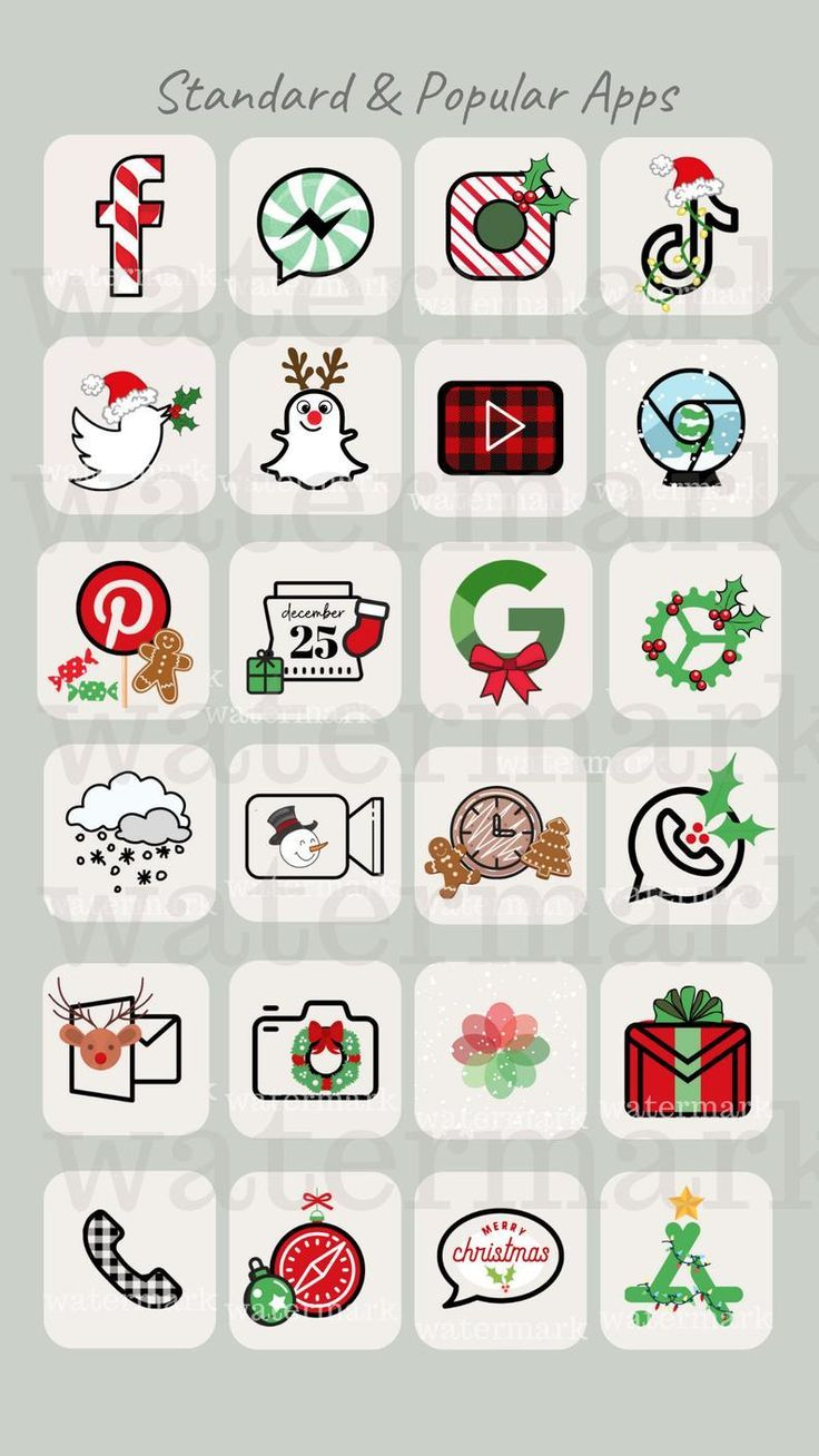 Christmas iPhone App Icons | ios 14 Aesthetic App Covers