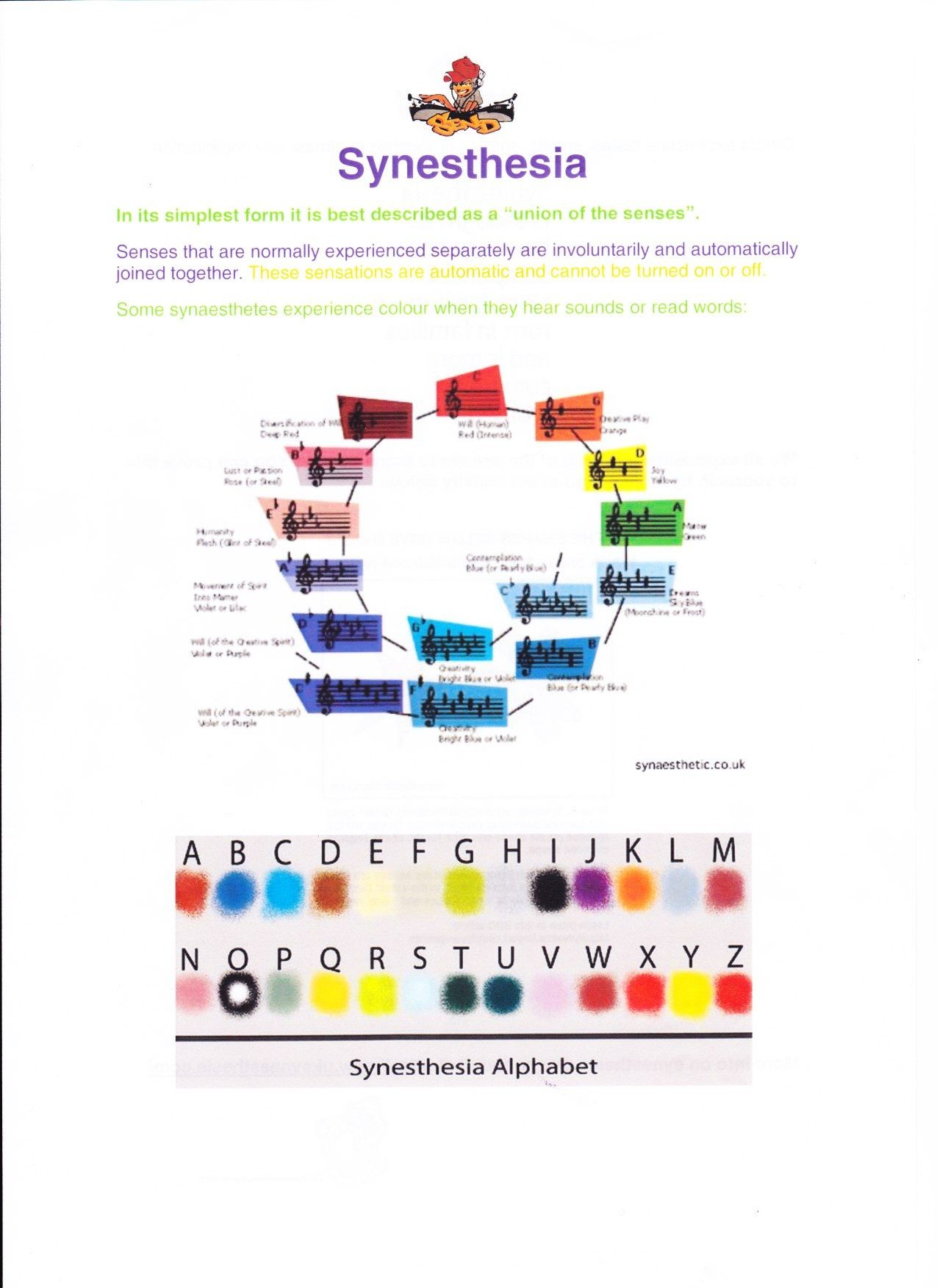 Synaesthesia Worksheet Part 1 I Already Do A Lot Of