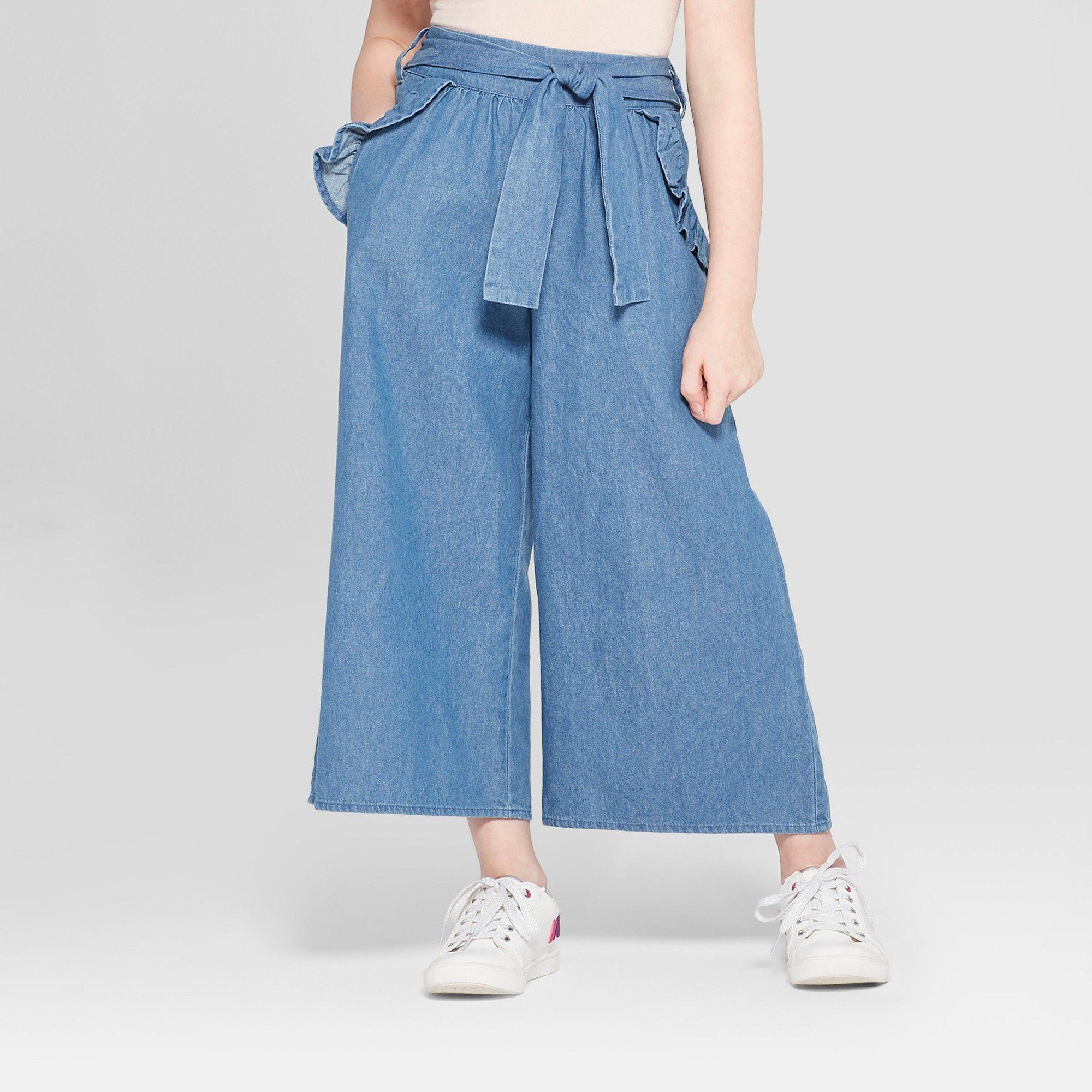 6ae1fb38c1 Girls' Front Tie Paperbag Waist Pants - art class Denim XS, Blue ...