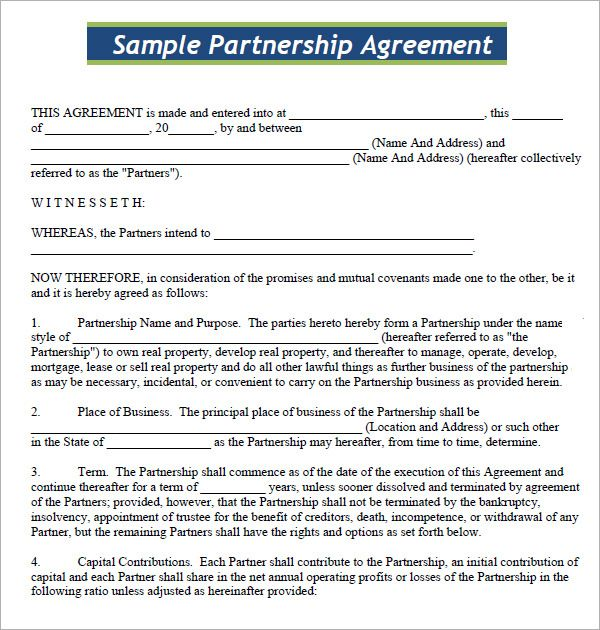 How To Write A Business Partnership Agreement - Opinion of experts - Sample Partnership Agreement