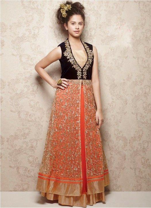 d260c9c31 New Black   Orange Velvet With Soft Net Designer Gown