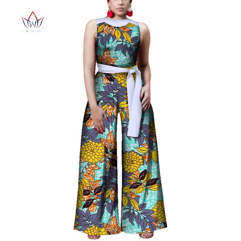 9ae9e91c9e69b jumpsuits for women 2018 with print sexy overalls women jumpsuit elegant  o-neck dashiki pants
