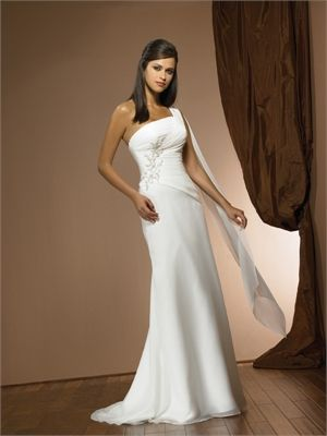 One-shoulder Strapless Embroidery A-line Small Train Wedding Dress WD1720 www.tidebridaldresses.com $229.0000