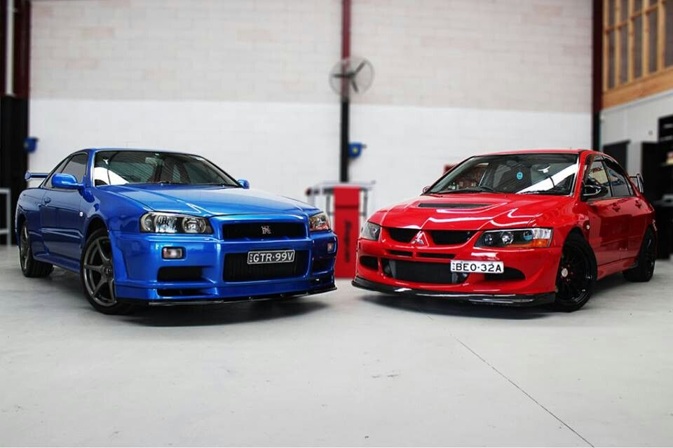 Red vs Blue Nissan skyline, Car, Tuner cars