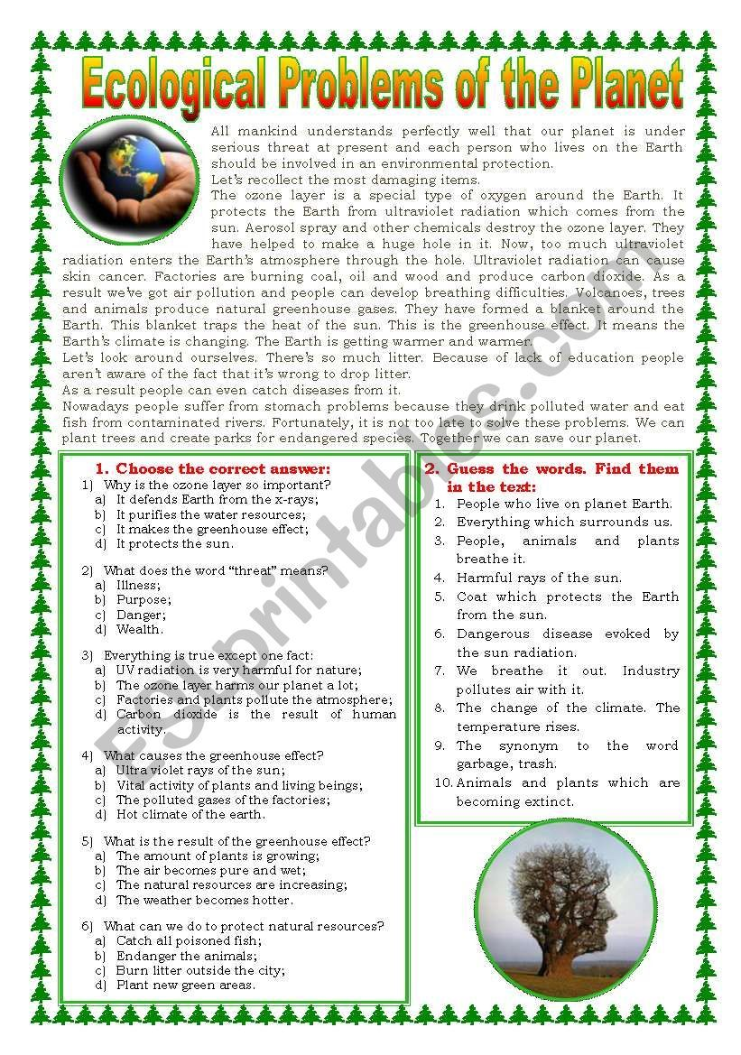 Text About Global Ecological Problems And Post Reading Tasks Multiple Choice Reading Comprehension Practice Reading Comprehension Lessons Essay Writing Skills [ 1169 x 821 Pixel ]