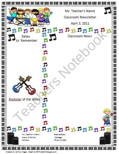 Teacher Newsletter Template  Rock And Roll Kids Theme Product