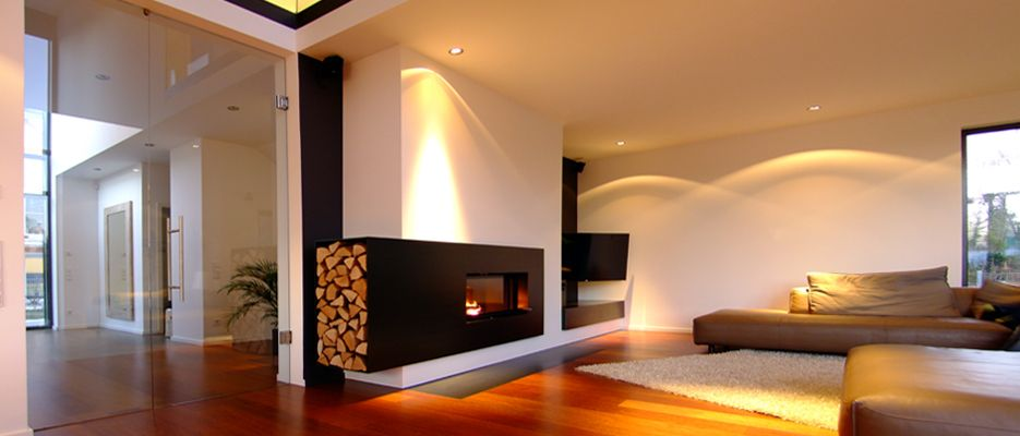 München 2013 # Querformatkamin mit Rohstahlverkleidung und - offene feuerstelle wohnzimmer