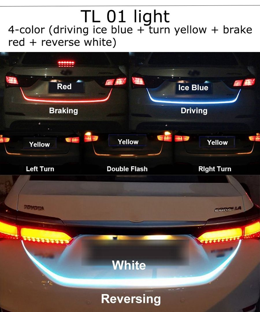 Car Rear Trunk Tail Light Dynamic Streamer Brake Turn Signal