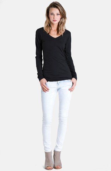 Free shipping and returns on LAmade Long V-Neck Cotton Tee at Nordstrom.com. A staple V-neck tee is cut from supersoft tissue-weight jersey and styled in a long, slim silhouette that's perfect for layering, but polished enough to wear on its own.