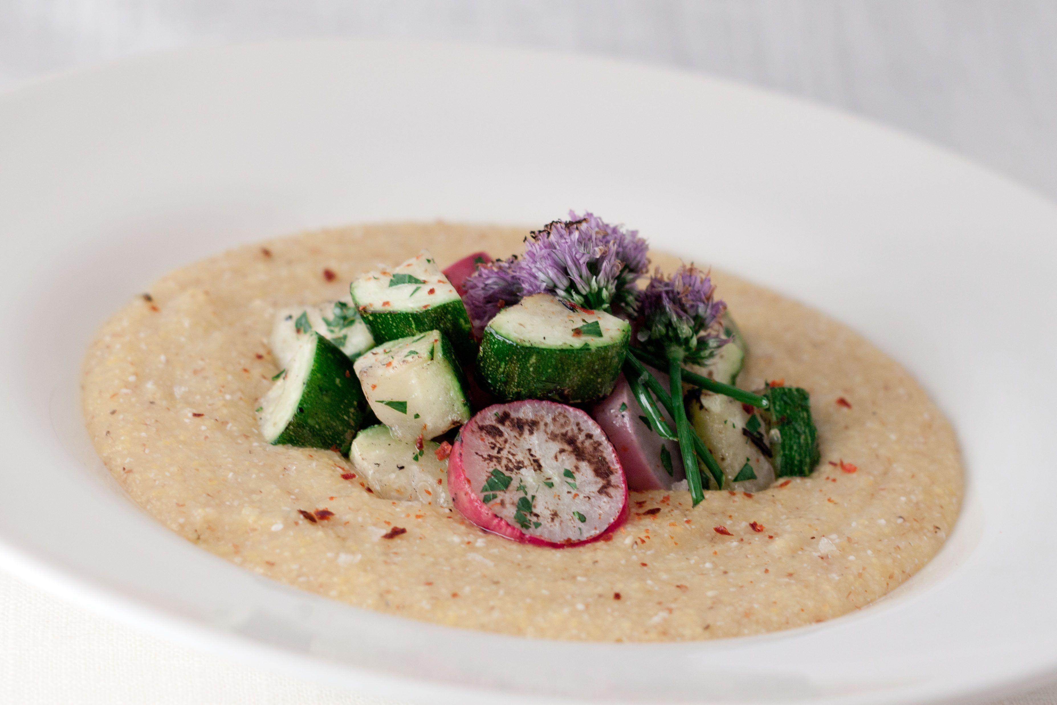 Polenta with Roasted Zucchini and Radish