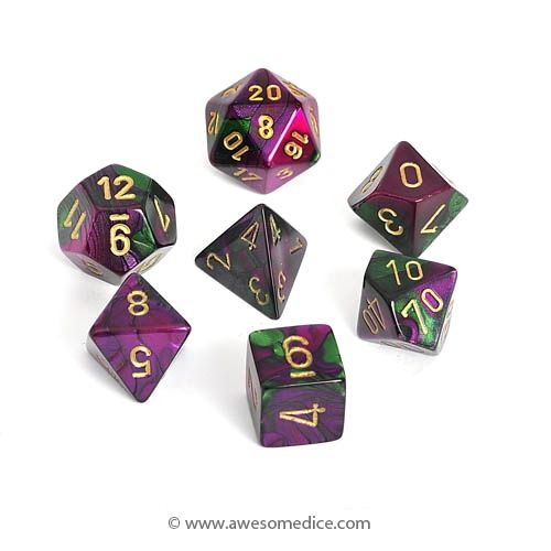Gemini Green-Purple 7-Dice Set