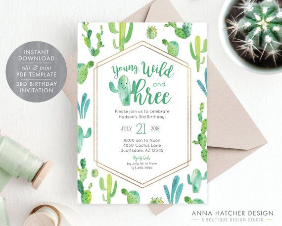Young Wild And Three Cactus 3rd Birthday Party Invitation Fiesta Photo Invite Turning 3 Pa