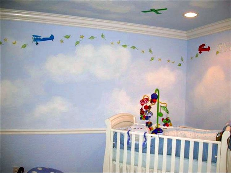 Clouds on the walls.... except with dragons ) Nursery