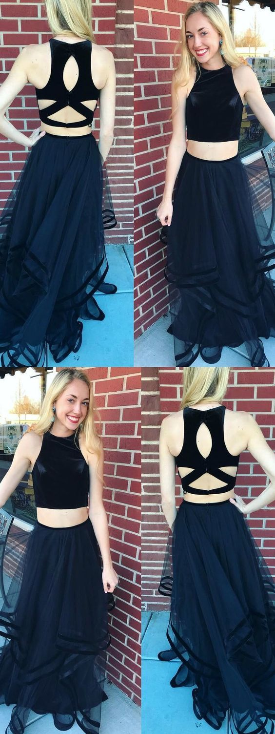 Two piece prom dresses simple flowy aline long black cheap prom