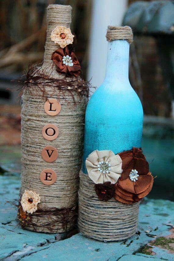 pin von lillian cornett auf wine bottlrs pinterest flaschen flaschen dekorieren und glas. Black Bedroom Furniture Sets. Home Design Ideas