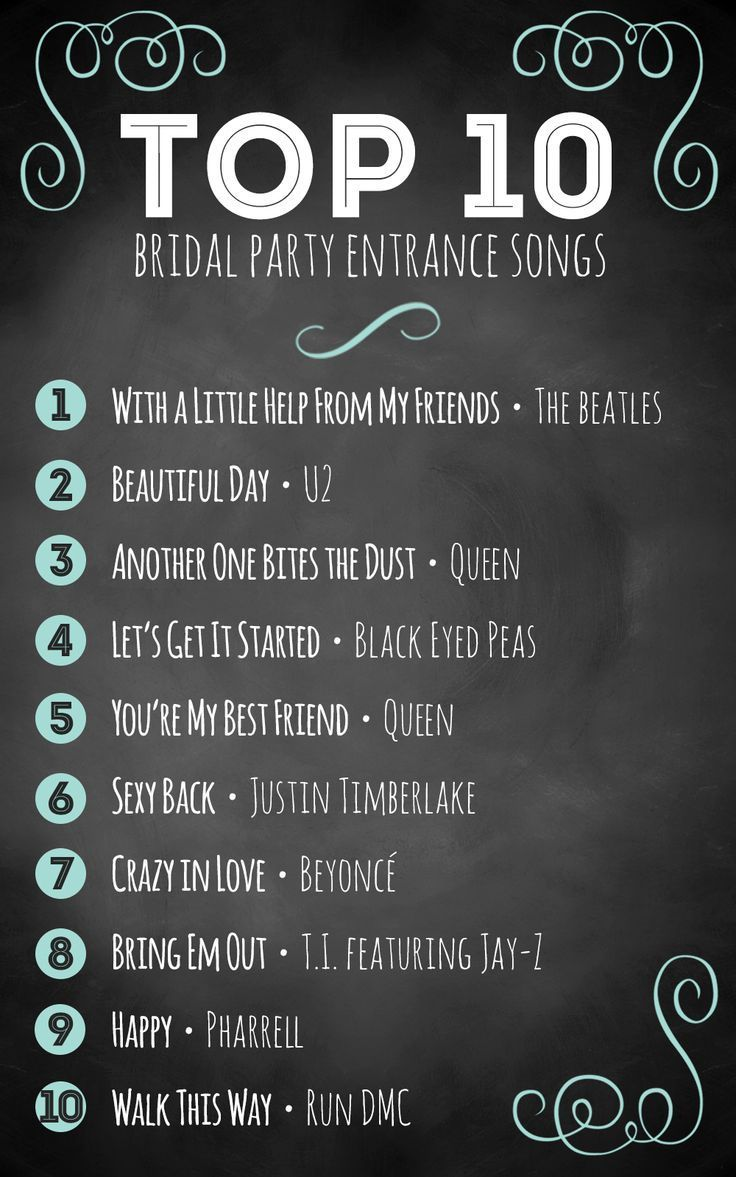 Top 10 Bridal Party Entrance Songs Wedding Inspiration