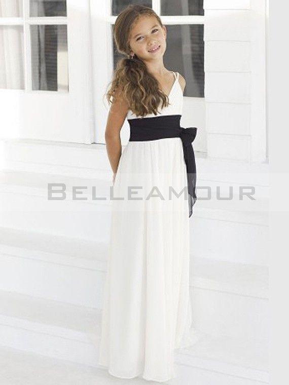 Robe de demoiselle d\'honneur fille Bicolore Longue Col V Bande ...