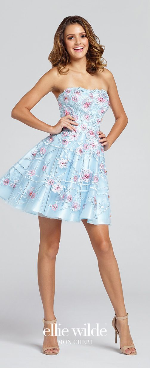Flirty Short Strapless Tulle Baby Blue Floral Prom Dress