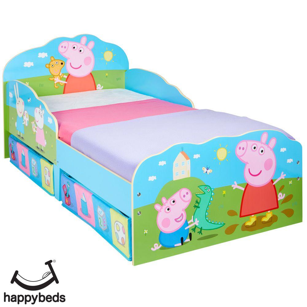 Peppa Pig Toddler 2 Drawer Storage Bed Toddler Bed Wooden