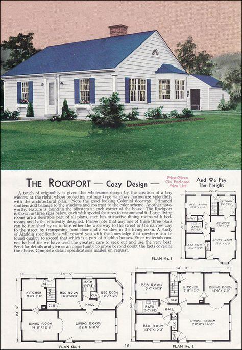 The Rockport 1940 Aladdin Kit Homes House Plans Cottage Style Homes Vintage House Plans