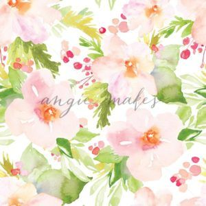Winter Watercolor Flowers Repeating Pattern - Angie Makes Stock Shop