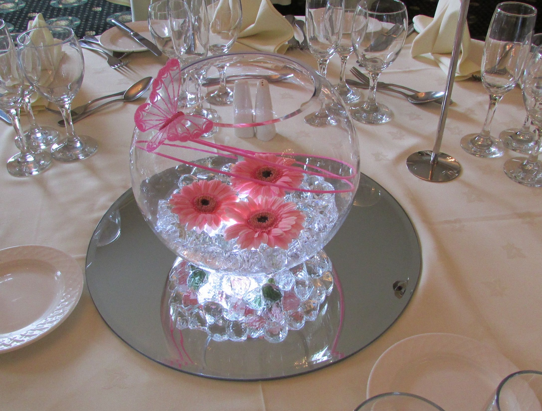 Lighted Goldfish Bowl With Pink Gerbera By Best Wishes
