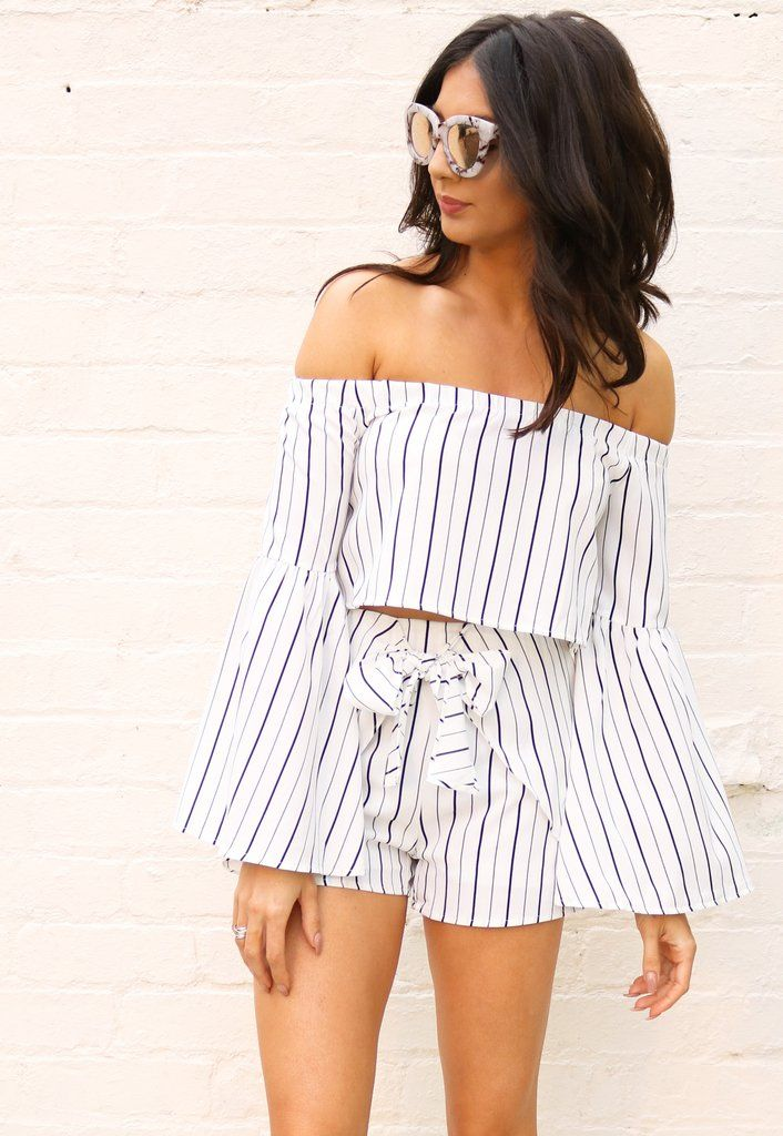 2ab32797cb3 Stripe Bardot Off The Shoulder Bell Sleeve Top & Frill Shorts Co-ord Set  White & Black