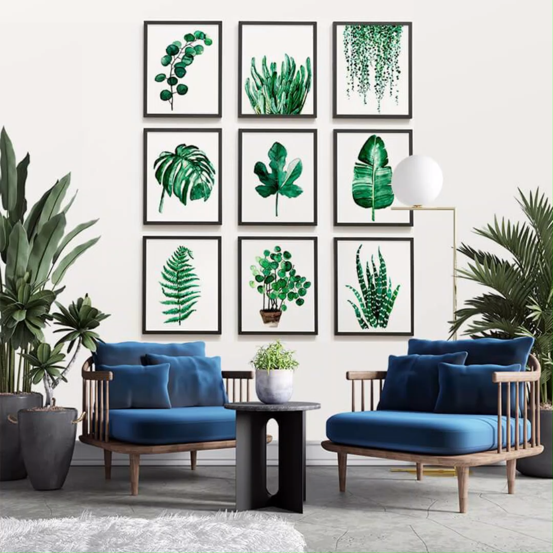 Photo of Green Watercolor Plant Leaves Alphabet Letters Wall Art Canvas Prints