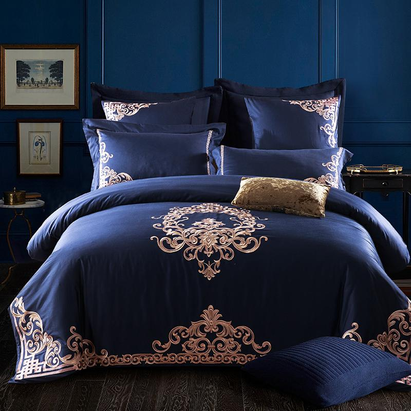 Embroidered Egyptian Cotton Bedding Sets Queen King Size Flat