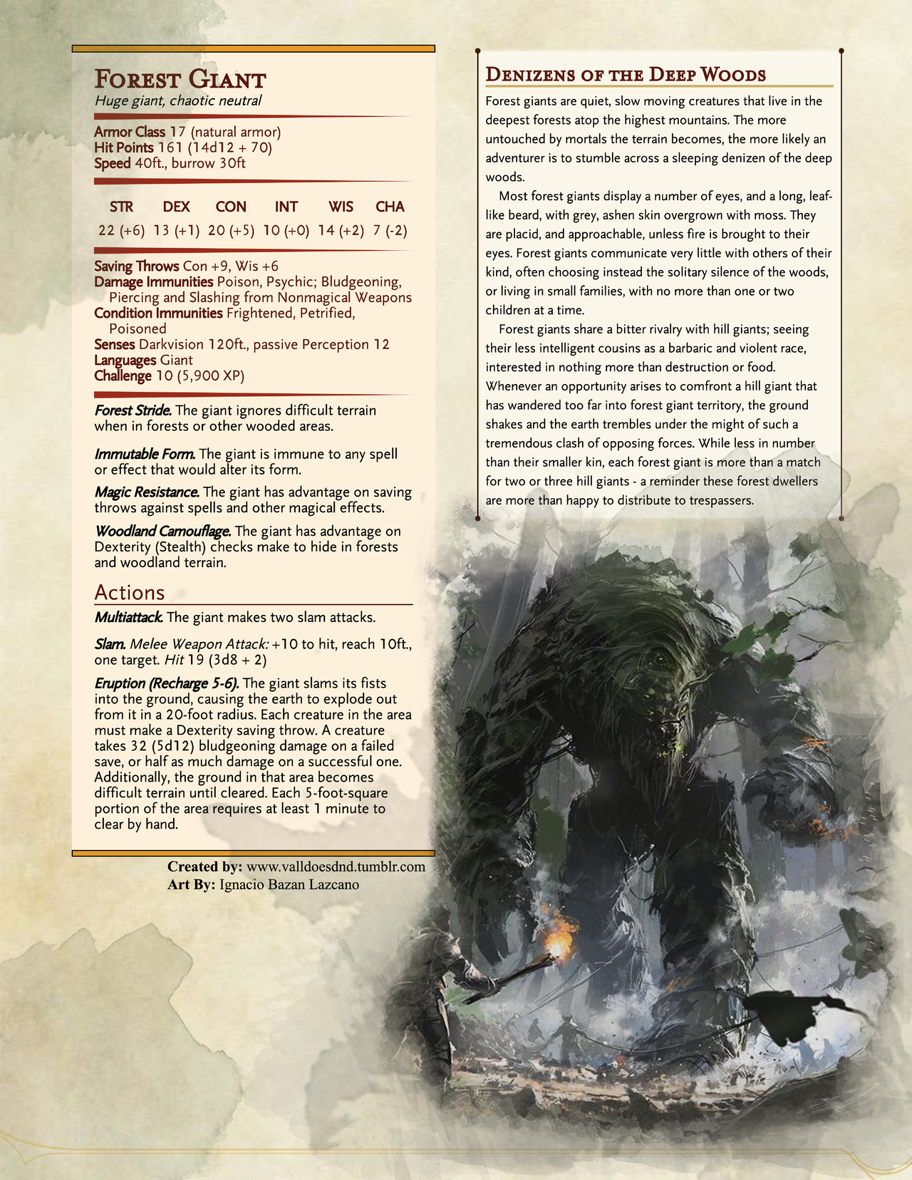 Valldoesdnd The Forest Giant Is A Solitary Creature For The Most Part Choosing To Spend Dungeons And Dragons Homebrew D D Dungeons And Dragons Dnd Monsters