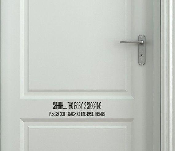 Shhh Baby Sleeping Sign Front Door Vinyl Decal Sticker Nursery Door