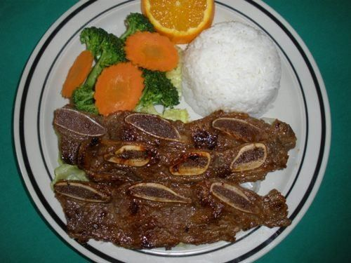 BBQ Beef :With marinated special homemade sauce. Served with steamed vegetables and rice.  #Beef #vegetables #Awesome Thai #Food forked.com