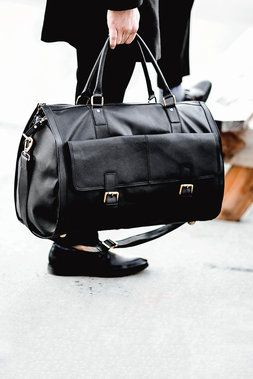 Saffiano Garment Bag Weekender - Of All Threads - Bags : JackThreads. A duffle that unzips into a garment bag. MUST HAVE IT