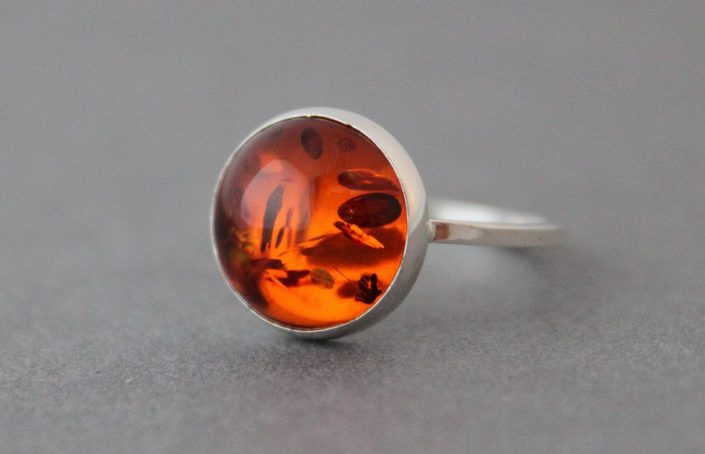 Sterling Silver Ring - Amber - Size 7.5 US/CANADA  - Statement Ring by tladesigns on Etsy