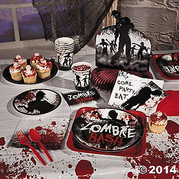 Party supplies from Oriental Trading Company for zombie themed
