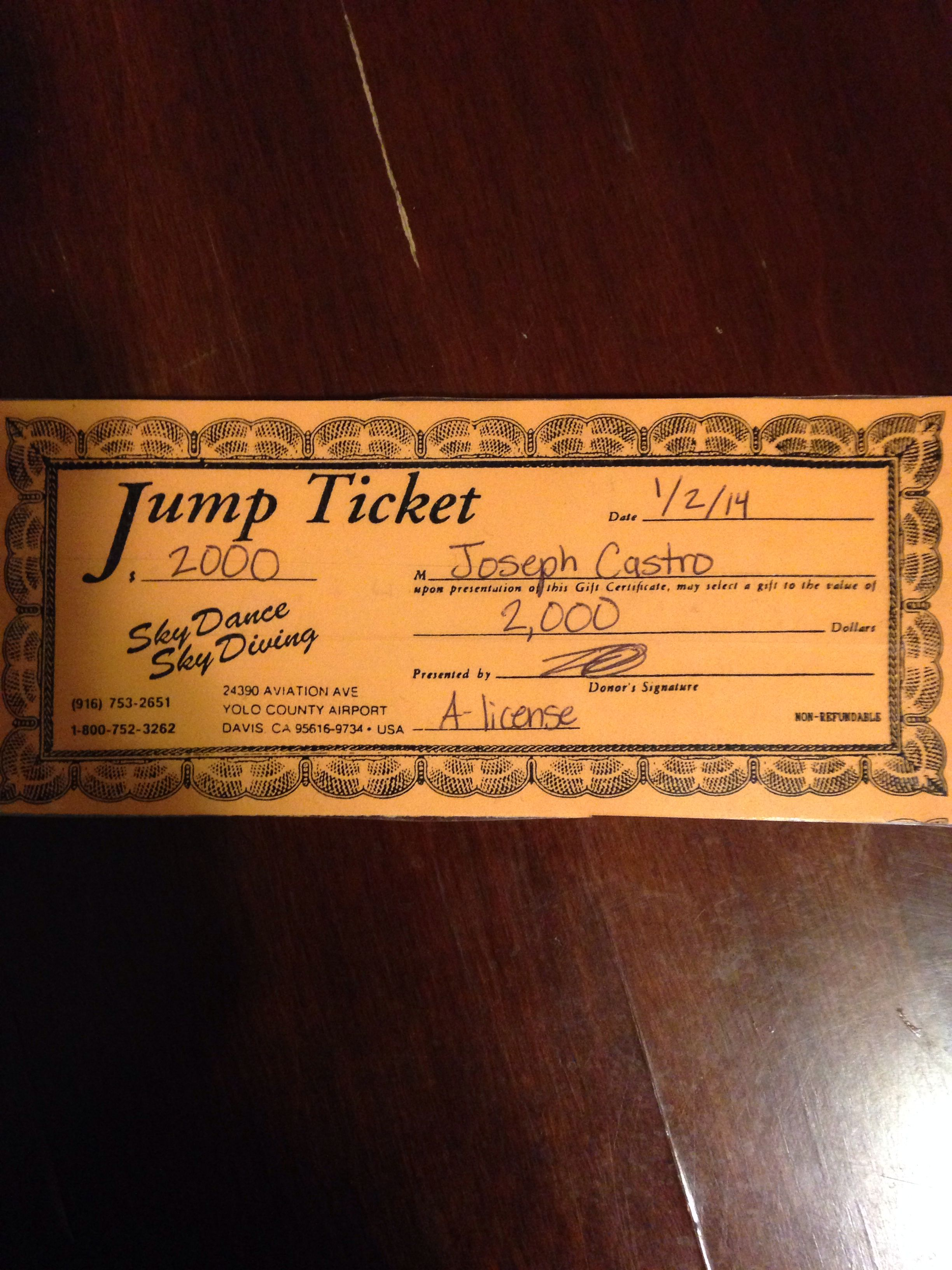 Jump Ticket 25 Skydives Skydiving Yolo County Ticket