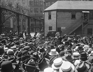 Emma Goldman addressing a crowd at Union Square, New York, on May 21, 1916