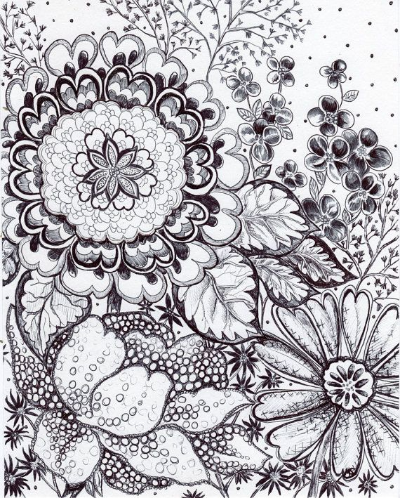 Original pen and ink drawing black and white floral wild symphony hand