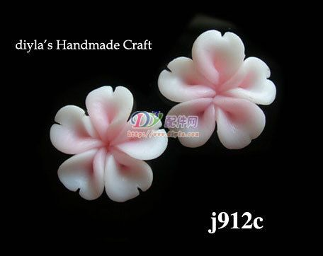 4pcs 12mm Pink Polymer Clay FIMO Flowers for Beads by diyla, $1.80