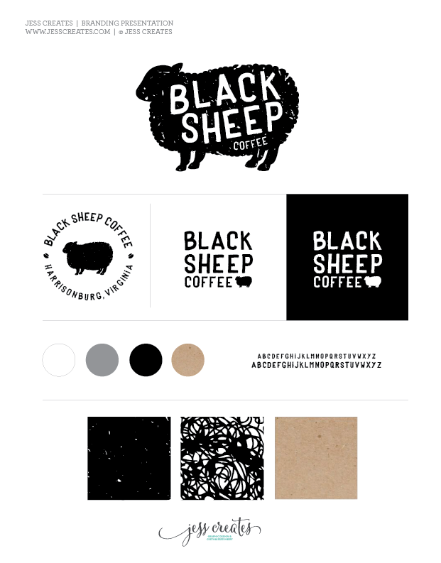 Black Sheep Coffee Logo Graphic Design Presentation Template