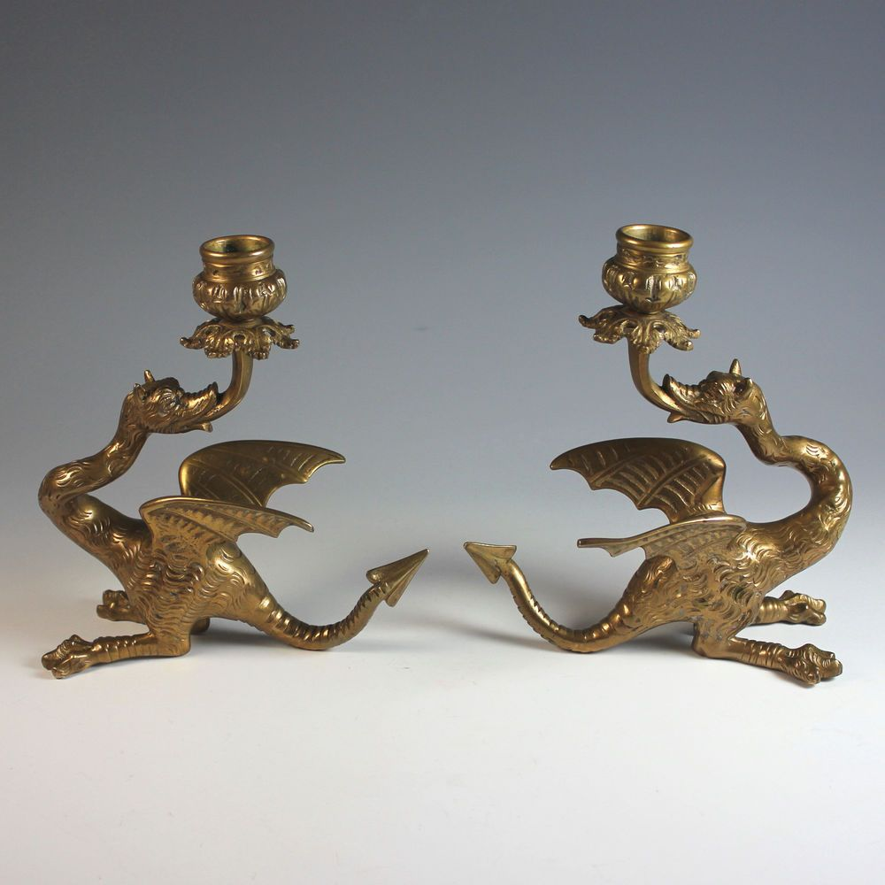 Pair of Vintage French Brass Candle Holders