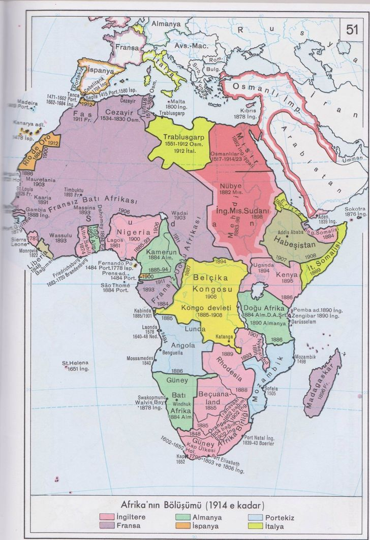 Partition of Africa until 1914 map in Turkish 1897x2769