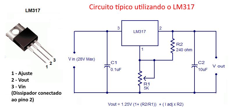 Circuito Lm317 : Lm regulador de voltagem  arduino