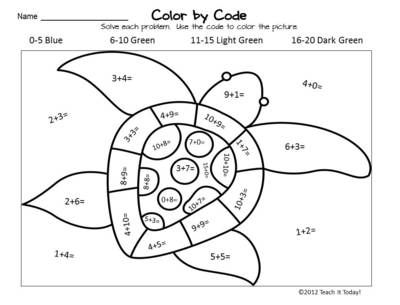 Turtle Color Code Math Worksheet Sea turtle unit Pinterest - new math coloring pages 4th grade