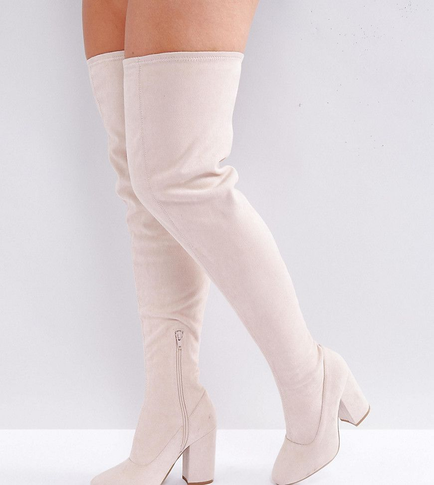 68b2ab9c9be ASOS KATCHER Wide Fit Heeled Over The Knee Boots – Beige