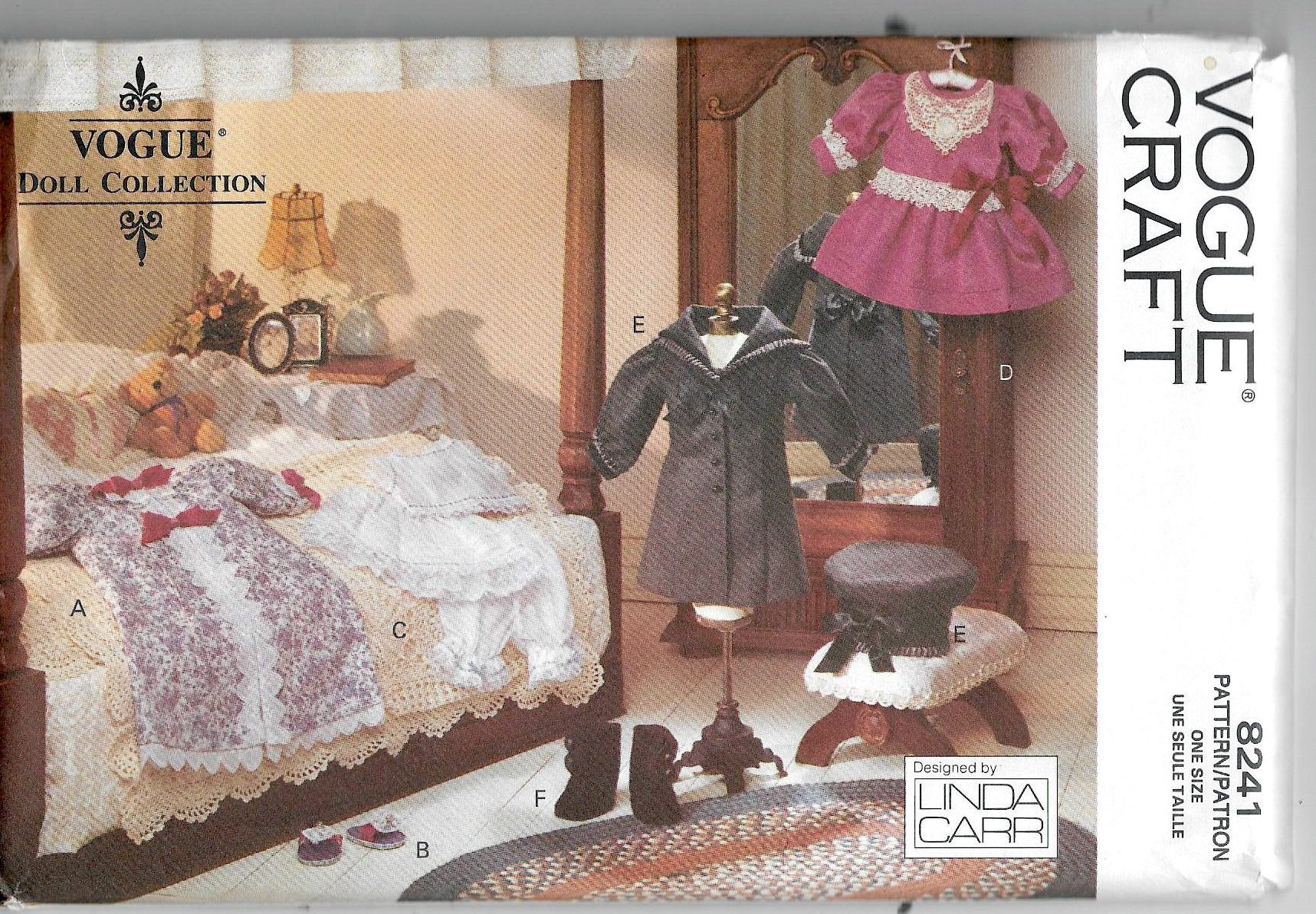 Uncut, 18 Inch Doll Clothes, Sewing Pattern, Vogue Craft 8241, Collection, Early American, Dress, Nightgown, Slippers, Camisole Petticoat #victoriandolls