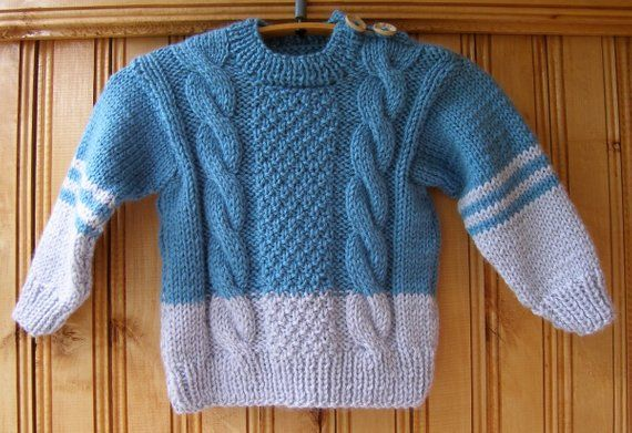 9cee84bed Blue gray Boys Girls kids handmade hand knit wool warm sweaters 2 3 ...