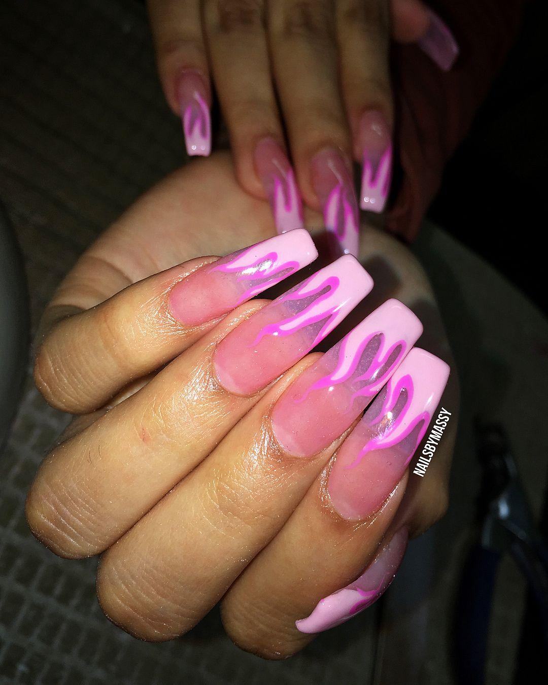 Swipe Pink Flames Nails Njnails Nycnails Thenaillife Hudabeauty Nailsbymassy Nails Nyc Nails Self Nail